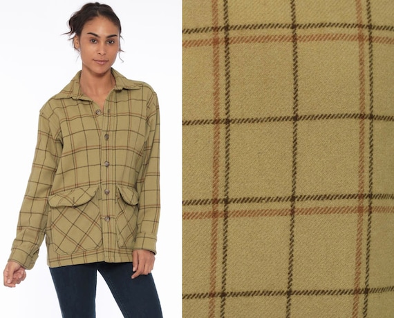 Wool Plaid Shirt WOOLRICH Flannel Shirt Plaid 70s Long Sleeve Plaid Button Up 1970s Vintage Lumberjack Olive Green Heavyweight Medium Large