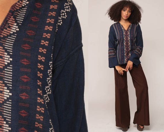 Embroidered Tunic Top Mexican Blouse COTTON Shirt Ethnic Hippie Tribal Dashiki Boho Wide Sleeve AZTEC Bohemian Dark Blue Medium