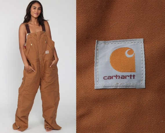 Insulated Carhartt Overalls 90s Workwear Coveralls Baggy Pants QUILTED Cargo Dungarees Brown Pants Long Work Wear Bib Vintage Extra Large XL