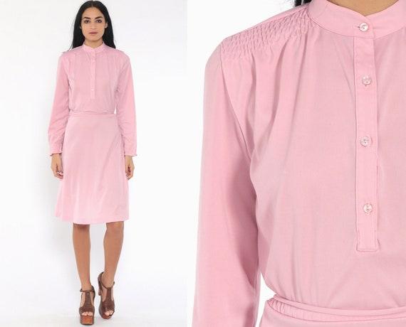 Baby Pink Dress 70s Midi Secretary Dress High Waisted Button Up Pastel Slouch Boho 1970s Vintage Retro Mididress Medium