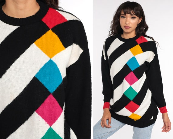 Vintage Maternity Sweater Checkered Sweater 80s Plaid Sweater Op Art Sweater Black White Striped Knit Sweater Pullover Vintage Slouchy Small