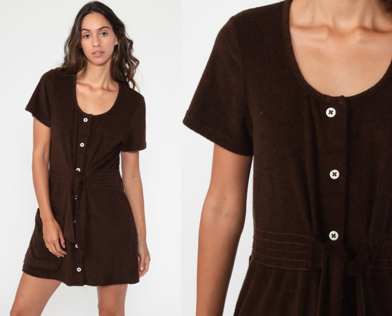 Brown Terry Dress 70s Terry Cloth Dress Mini Butto