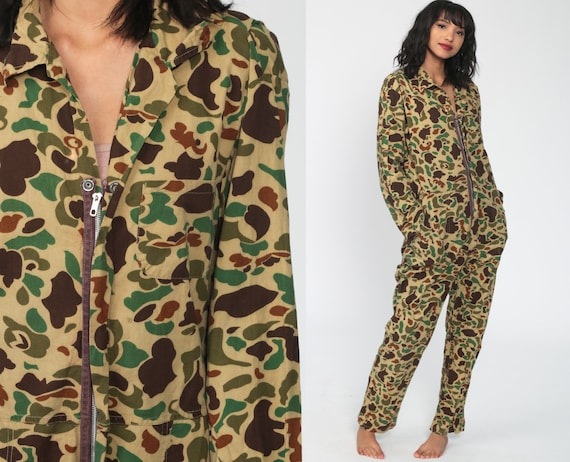 Camo Jumpsuit Army Coveralls Military Jumpsuit Camouflage Print 80s Hunting Boilersuit Pantsuit Vintage Long Sleeve Small Medium