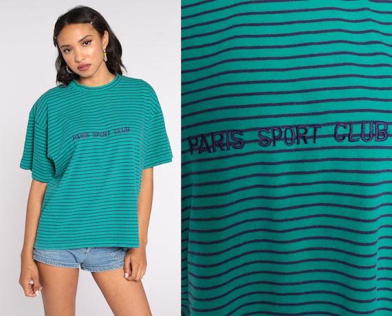 Paris Sport Club T Shirt 90s Shirt Teal Green Striped TShirt Purple Tee Retro Tee Short Sleeve Vintage 1990s Oversized Large L