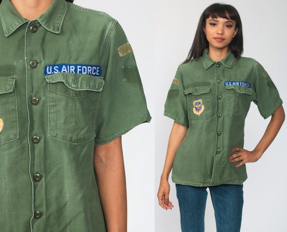 Air Force Shirt Army Shirt US Military Olive Drab Green Patch Commando Field Button Up Grunge Cargo Vintage Camo Medium Large