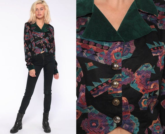 90s Southwestern Blouse -- Velvet Trim Tribal Shirt AZTEC Top Button Up Southwest Shirt Vintage Long Sleeve Green Purple Medium