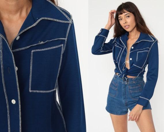 70s Shirt Dagger Collar Shirt Navy Blue Shirt TOPSTITCH Button Up Shirt Long Sleeve Top Disco Shirt 1970s Collared Plain Oxford Small Medium