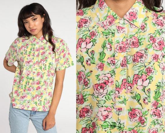 Yellow Floral Blouse 80s Button Up Pink Rose Shirt Short Sleeve Top Romantic Boho 1980s Vintage Bohemian Medium
