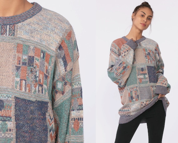 80s Sweater Geometric Knit Jumper Patchwork Abstract 1980s Grunge Statement Vintage Pullover Cotton Retro Oversized Medium Large