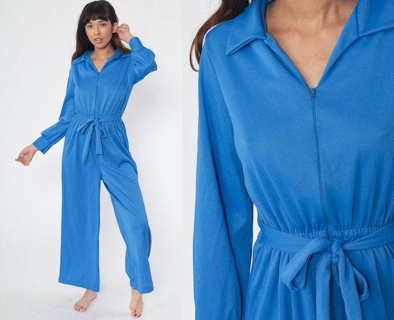 Blue Bell Bottom Jumpsuit 70s Jumpsuit Wide Leg Pants Boho Hippie V Neck Front Zip Disco Bohemian Vintage Pantsuit Long Sleeve Small Medium