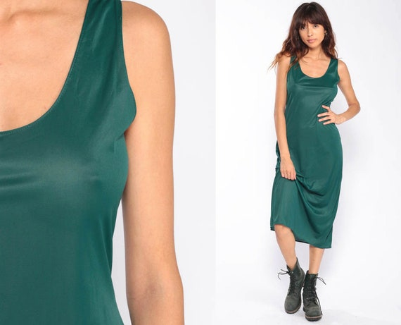 Slip Dress 80s Midi Dress Tank Dress Green Grunge Sleeveless Vintage 1980s Bohemian Retro Sheath Retro Plain Extra Small xs