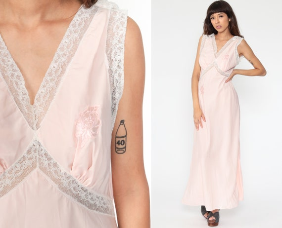 Lace Nightgown Lingerie Slip Dress 70s Maxi Boho Baby Pink Sheer Nightgown Deep V Neck Empire Waist Vintage Bohemian Medium