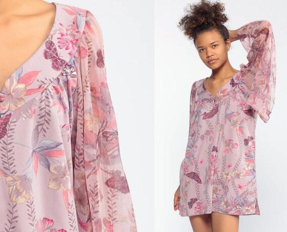 70s Angel Sleeve Top Micro Mini Dress Boho Purple Floral Blouse Flowy 1970s Tunic Top Butterfly Print Shirt Bell Sleeve Bohemian Medium