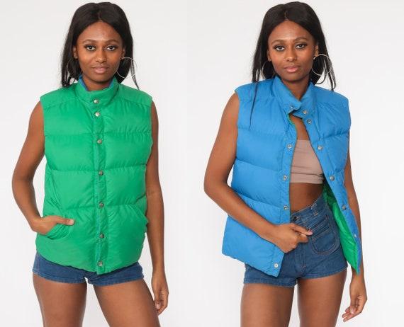 Reversible Ski Vest Green + Blue Puffer Vest Goose DOWN Filled 70s Vest Sleeveless Jacket 80s Puffy Retro Vintage Small xs