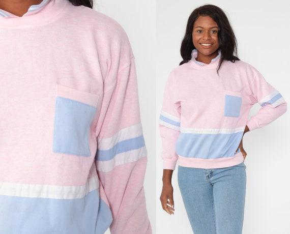 Pastel Striped Sweatshirt -- 80s Baby Pink Sweatshirt Lavender Purple Stripe Print Slouch Pullover Jumper Collared Shirt Vintage Medium