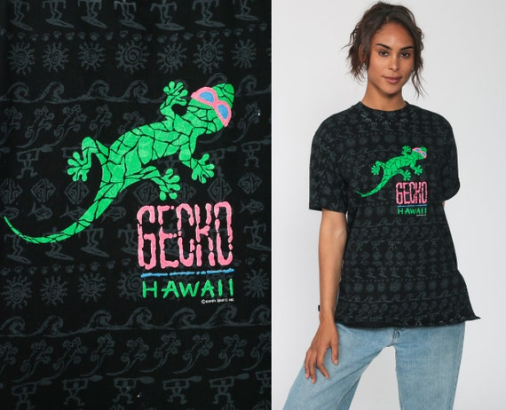Neon Gecko Shirt Hawaii Lizard Shirt 90s Happy Shirts Animal TShirt Vintage Retro T Shirt Graphic Tee Screen Print 1990s Black Small Medium