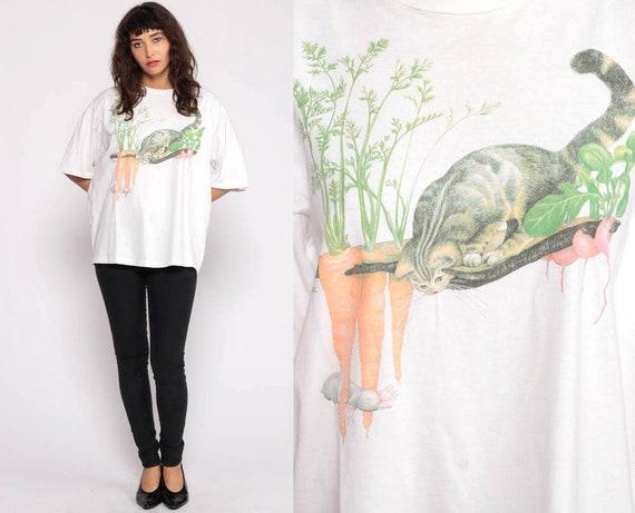 Garden Cat Shirt CAT + MOLE Graphic Tshirt 90s Vegetable Gardening T Shirt Screen Print Tee Animal Vintage Extra Large xl
