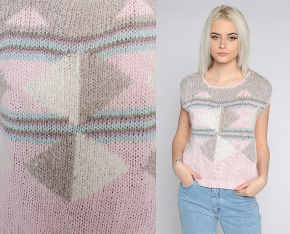 Geometric Sweater Top 80s Baby Pink Knit Top Short Cap Sleeve Pastel Color Block Top 1980s Graphic Vintage Sweater Medium