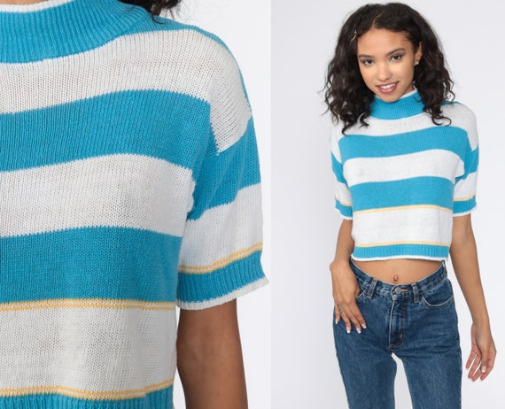 Cropped Sweater Blue White Short Sleeve Sweater Re