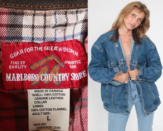 Marlboro Jean Jacket Men's Large 90s Denim Jacket LEATHER COLLAR Jacket Grunge Oversized 1990s Vintage Blue Brown Coat Retro Cigarette L