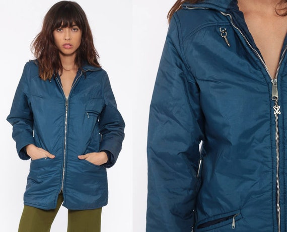 Blue Winter Coat -- Retro Ski Jacket Puffer Jacket 70s Puffy Coat Puff Retro 1970s Vintage 80s Jacket Small