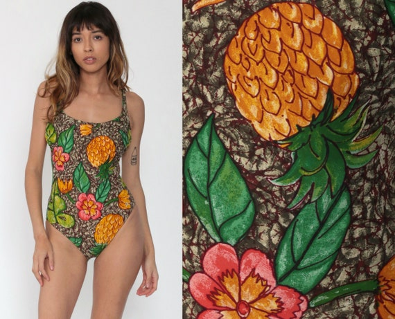 Fruit Swimsuit Pineapple Bathing Suit One Piece Swim Suit Tropical Swimsuit Floral Bathing Suit 1990s Vintage Black Pink Tropical Small