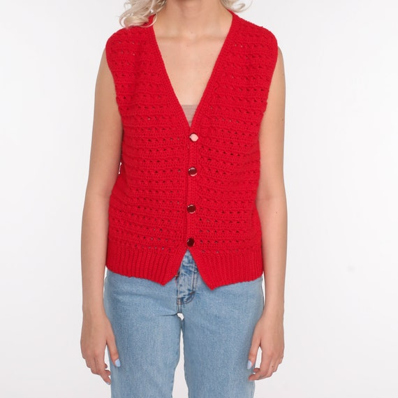 Crochet Vest Red Knit Top 70s Hippie Boho Vest Op… - image 6