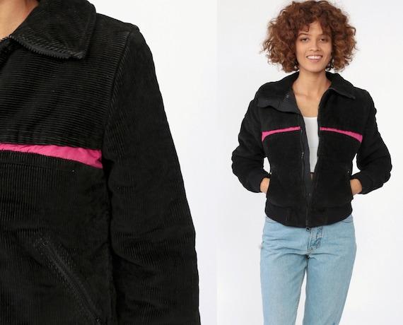 70s Puffer Jacket Black CORDUROY Coat Retro Ski Jacket 80s Puffy Coat Winter Coat 1980s Vintage Pink Trim Puff Coat Extra Small XS
