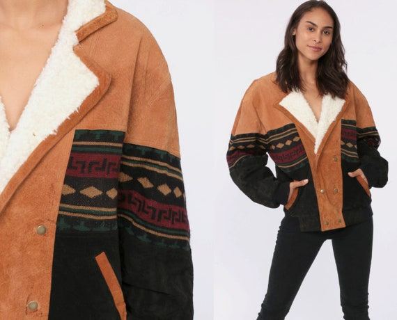 Boho Leather Jacket Suede Jacket Tribal SHERPA LINING Southwestern Shearling Coat 80s Aztec Ethnic Vintage Fleece Brown Extra Small xs s