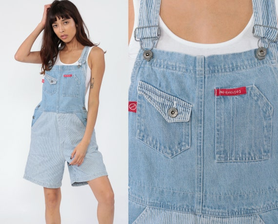 Striped Overalls 90s Shorts Bib SHORTALLS Grunge 1990s Blue White Suspender NO EXCUSES Shorts Hipster Vintage Streetwear Medium