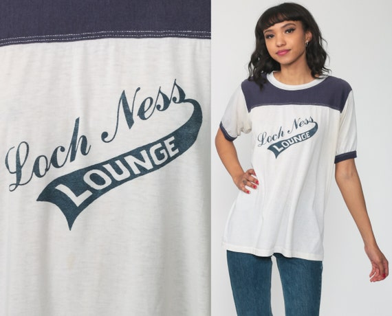 Ringer Tee 80s Loch Ness Lounge Tshirt Graphic Print Retro White Blue Vintage Hipster T Shirt Cotton Tee Single Stitch 1980s Medium Large