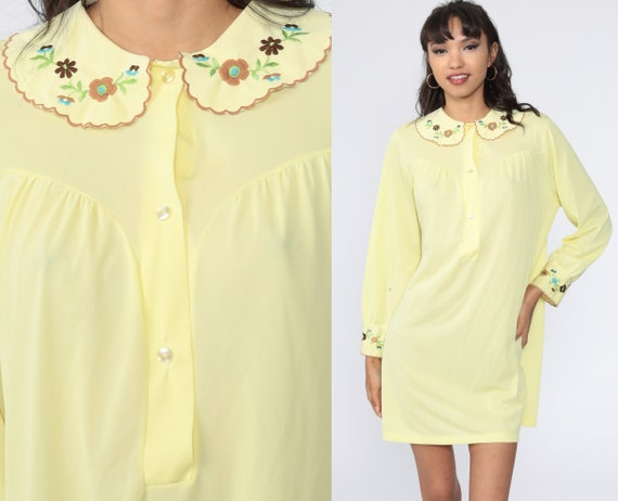 70s Pajama Dress Lingerie Dress Pastel Yellow Nightgown Embroidered Floral Long Sleeve Mini Nylon Nightie Boho Vintage Button Up Large