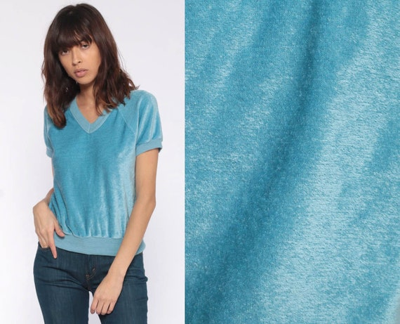 Blue VELOUR Shirt 80s T Shirt V Neck Shirt Slouchy Top Raglan Sleeve 70s Retro Tee Vintage 1980s Freaks and Geeks Slouch Extra Small xs