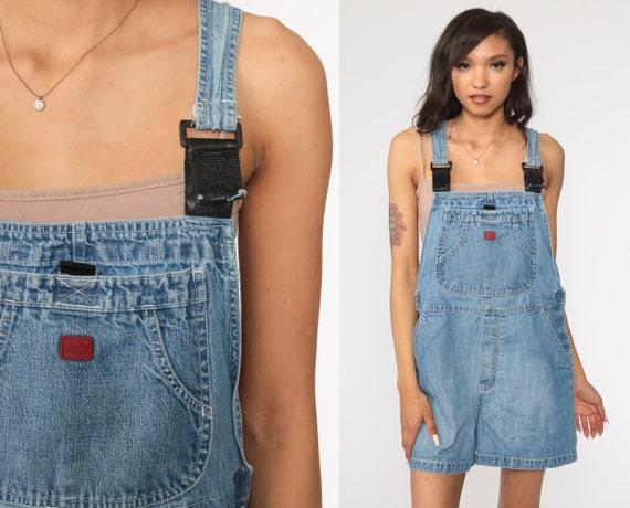Short Overalls Denim Overall Shorts Bib Overalls Shortalls Jeans 90s Grunge Jean Blue Woman 1990s Vintage Medium