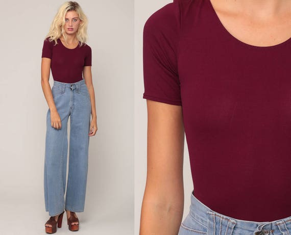 Purple Leotard Bodysuit Top 90s Leotard Shirt Tight Blouse Purple Shirt Short Sleeve Vintage Plain Retro One Piece Small