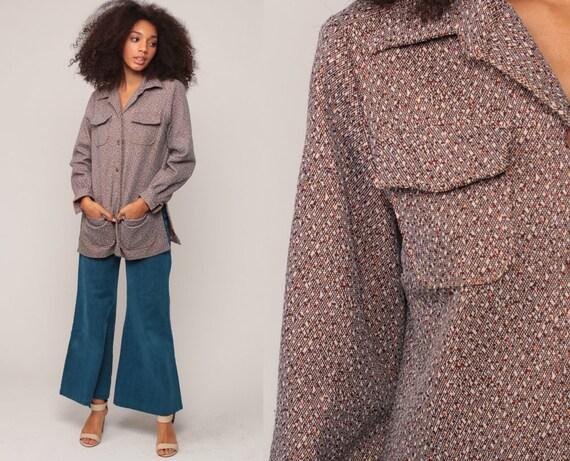 5a1a879e1f600 Button Up Shirt 70s Shirt Brown Blouse Cargo Shirt FLECKED