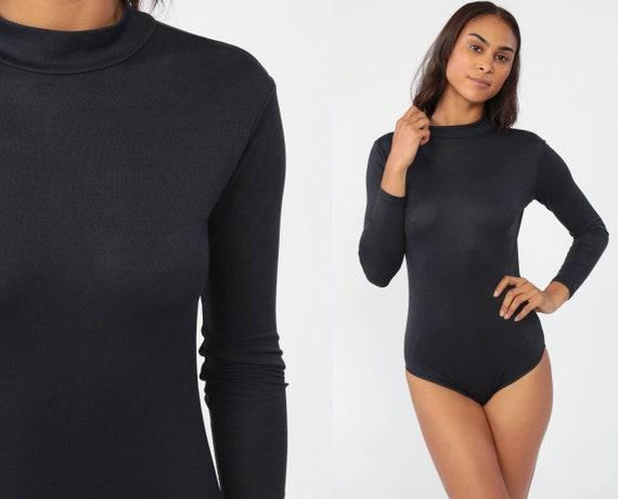 Plain Black Bodysuit Top Long Sleeve Leotard Shirt 80s Boho Top Disco Plain Blouse Mock Neck Vintage Bohemian Low Cut Medium Petite