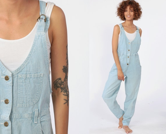 Denim Overall Jumpsuit 90s LEE Playsuit Grunge Suspender Pants Bib Cargo Vintage Dungarees 1990s Light Blue Cotton Coveralls Extra Small XS