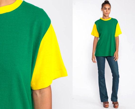Ringer Tee Shirt Green Shirt Plain TShirt 80s T Shirt Hipster Retro Tee Yellow Vintage 1980s Extra Large xl