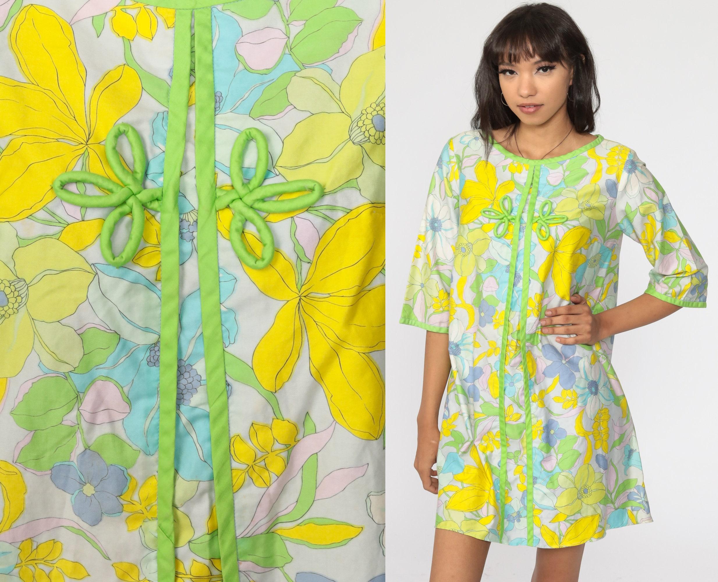 Hawaiian Tent Dress 70s Mini Floral Shift Mod Blue Hippie 1970s Boho Tropical Gogo Vintage Short Sleeve Go Go Bohemian Medium Large