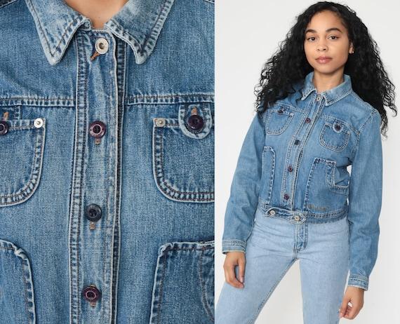 GUESS Jean Jacket 90s Denim Jacket Vintage Jacket Trucker Biker Blue Jean Jacket Button Up 1990s Coat Women's Small S