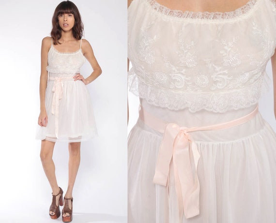 60s Lace Nightgown 34 Lingerie Slip Dress 70s Mini Boho White Sheer Nightgown Sexy Pajama Pinup Babydoll Vintage 60s Romantic Extra Small xs