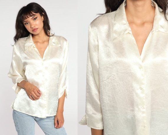 Off-White Satin Blouse Long Sleeve Top 90s Shirt Silky Crinkled Shirt 80s Button Up Collared Shirt 1990s Extra Large xl 1x