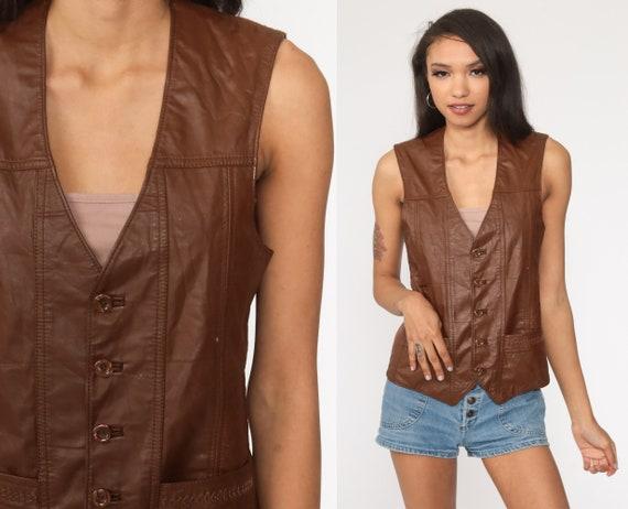 Brown Leather Vest 70s Boho Leather Vest Cowboy Brown Vest 80s Bohemian Vintage Small Medium