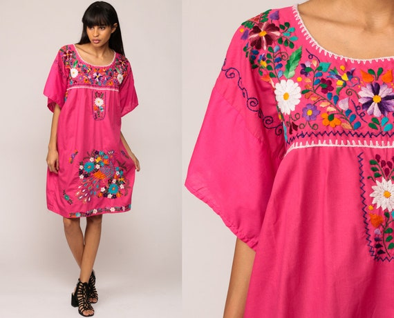 Embroidered Mexican Dress Peacock BIRD Tunic Mini Boho Hippie Bohemian Pink Cotton Vintage Ethnic Festival Rainbow Extra Large xl