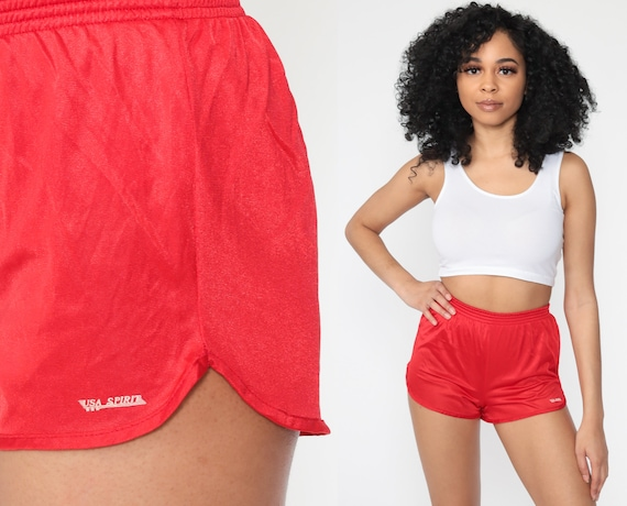 Red Gym Shorts JOGGING Shorts 80s Running Shorts G