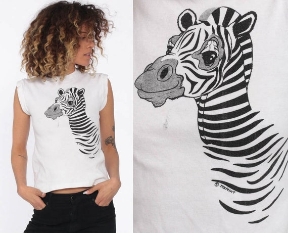 Zebra Shirt 80s Tank Top Animal T Shirt Jungle Safari Graphic Tee Retro Vintage 1980s White Muscle Tee Extra Small xs