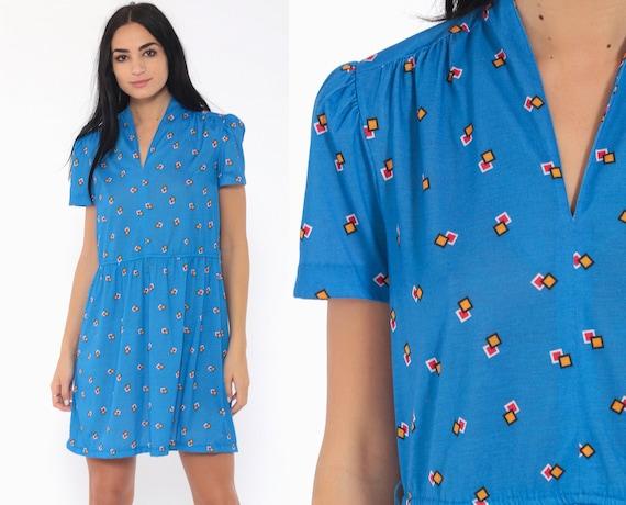 Geometric Puff Sleeve Dress 70s Mini Blue Secretary V Neck 80s Bohemian High Waisted Minidress Retro Boho Hippie Medium