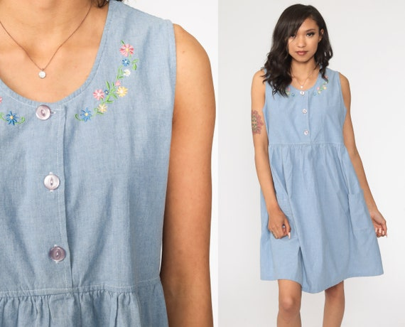 Floral Mini Dress Embroidered Button Up Keyhole Jumper Pinafore Criss-Cross Preppy 1990s Vintage Blue Sleeveless Summer High Waist Medium