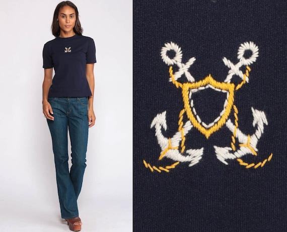 Sailor T Shirt Nautical Blouse 70s Shirt ANCHOR Print Top Disco Tshirt 1970s Novelty Vintage Boho Retro Short Sleeve Blue Small Medium